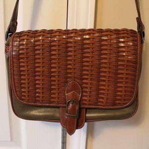 Vintage Pleather Basket-Weave Purse